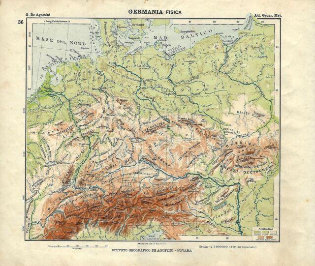 Immagini Cartina Geografica Germania.Carta Geografica Antica Germania Ante Grande Guerra 1914 Old Antique Map Ebay