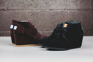 decab6ad305f TOMS CHOCOLATE BROWN SUEDE WOMEN S DESERT WEDGES SHOES. STYLE ...