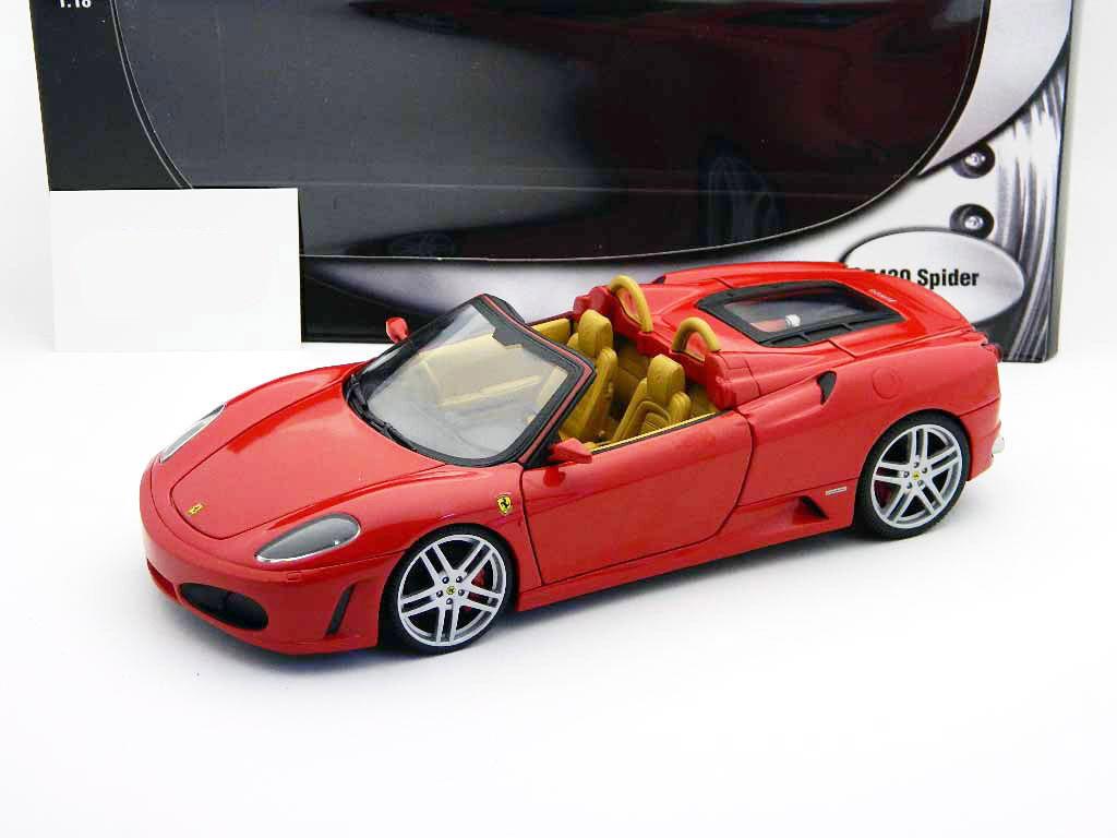 Ferrari F430 Spider rosso en tan por Hot Wheels 1 18 totalmente nuevo en caja como en la imagen