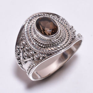 925-Sterling-Silver-Ring-Size-UK-Q-1-2-Natural-Smoky-Gemstone-Jewelry-CR3318