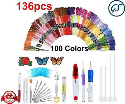 136PCS Magic DIY Embroidery Pen Knitting Sewing Tool Kit Punch Needle Set