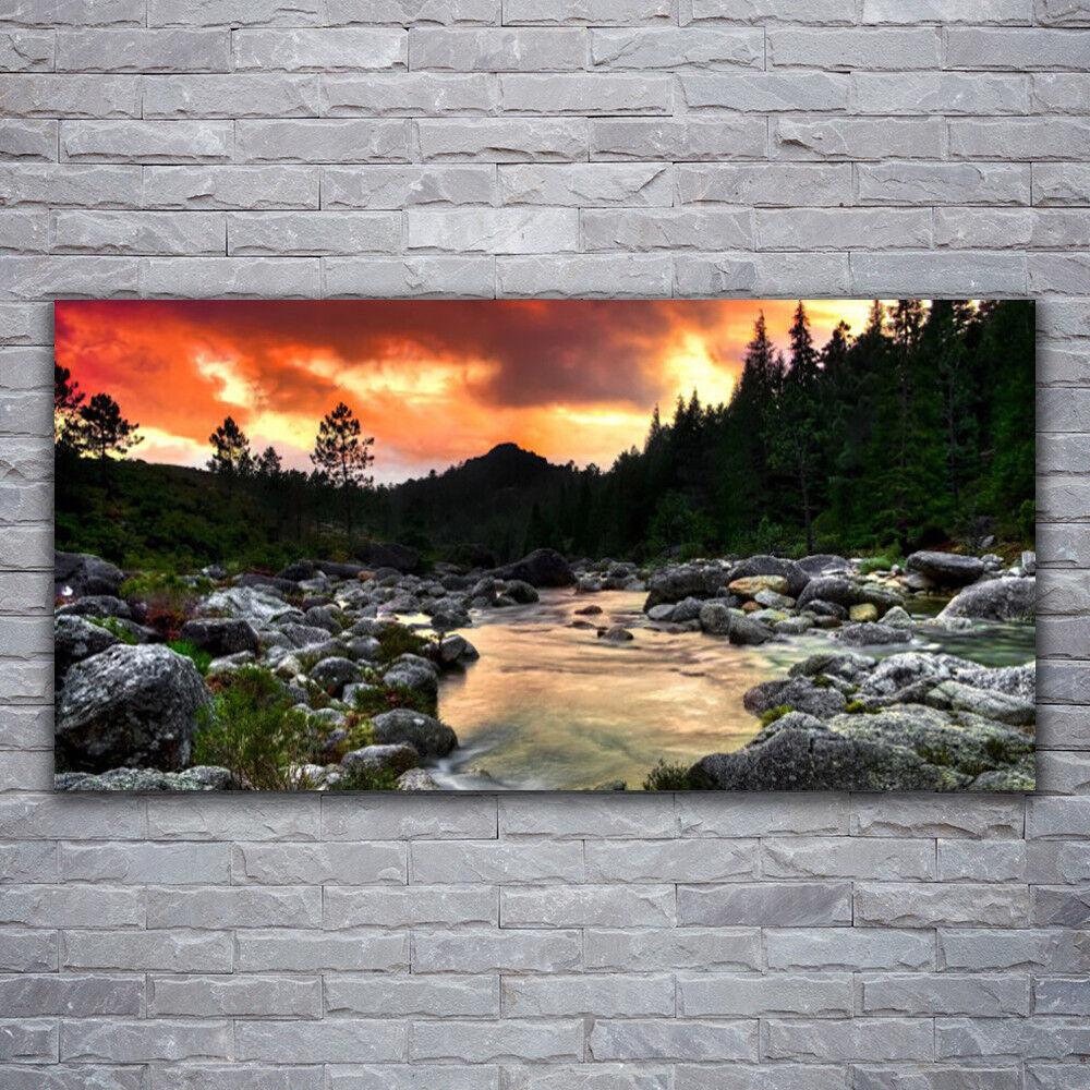 Photo sur toile Tableau Image Impression 120x60 Nature Lac Pierres Forêt