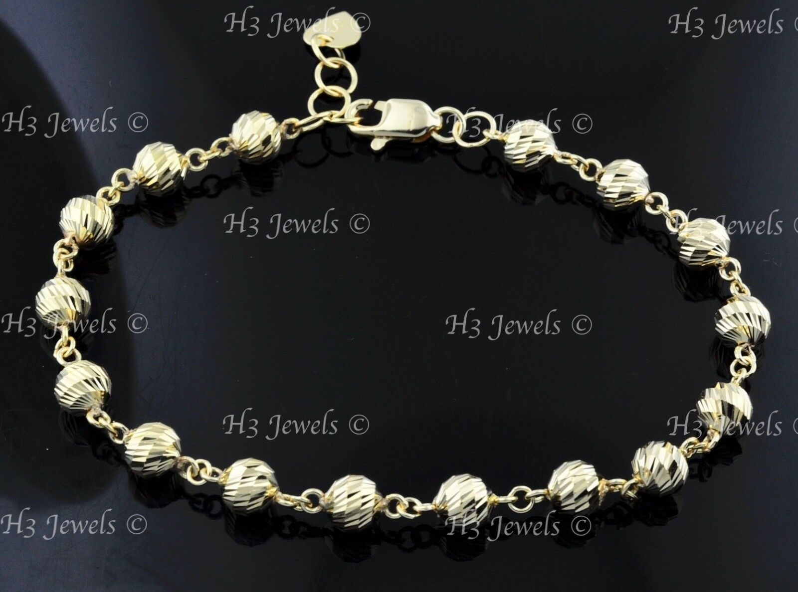 b4d0234f10fc8 bracelet ball bead cut diamond yellow Solid 18k 7.90 gold h3jewels ...