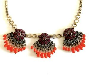 J-CREW-Statement-Necklace-Purple-Coral-Blue-Colors-Boho-Style-Gold-Tone-Chain