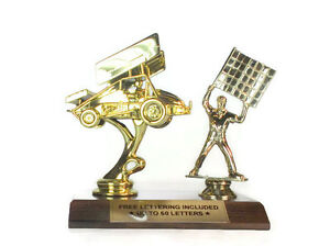 Race Car Trophy >> Sprint Car Trophy With Flagman Race Car Heat Winner Driving