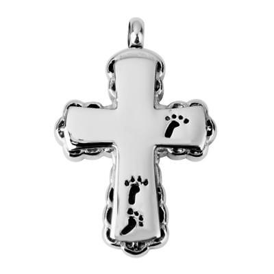 Cruz huella de cremación recuerdo Memorial ceniza Urna collar de plata