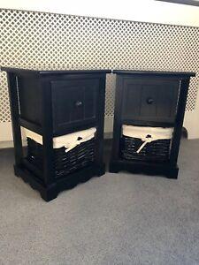 2-x-Black-Bedside-Tables-With-Wicker-Storage-Baskets-Bedroom-Furniture-Cabinet