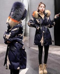 Cappotto Plus Waist Ske15 Camouflage Coat Loose Jacket Donna Parka Fur Hooded tx6pwq7