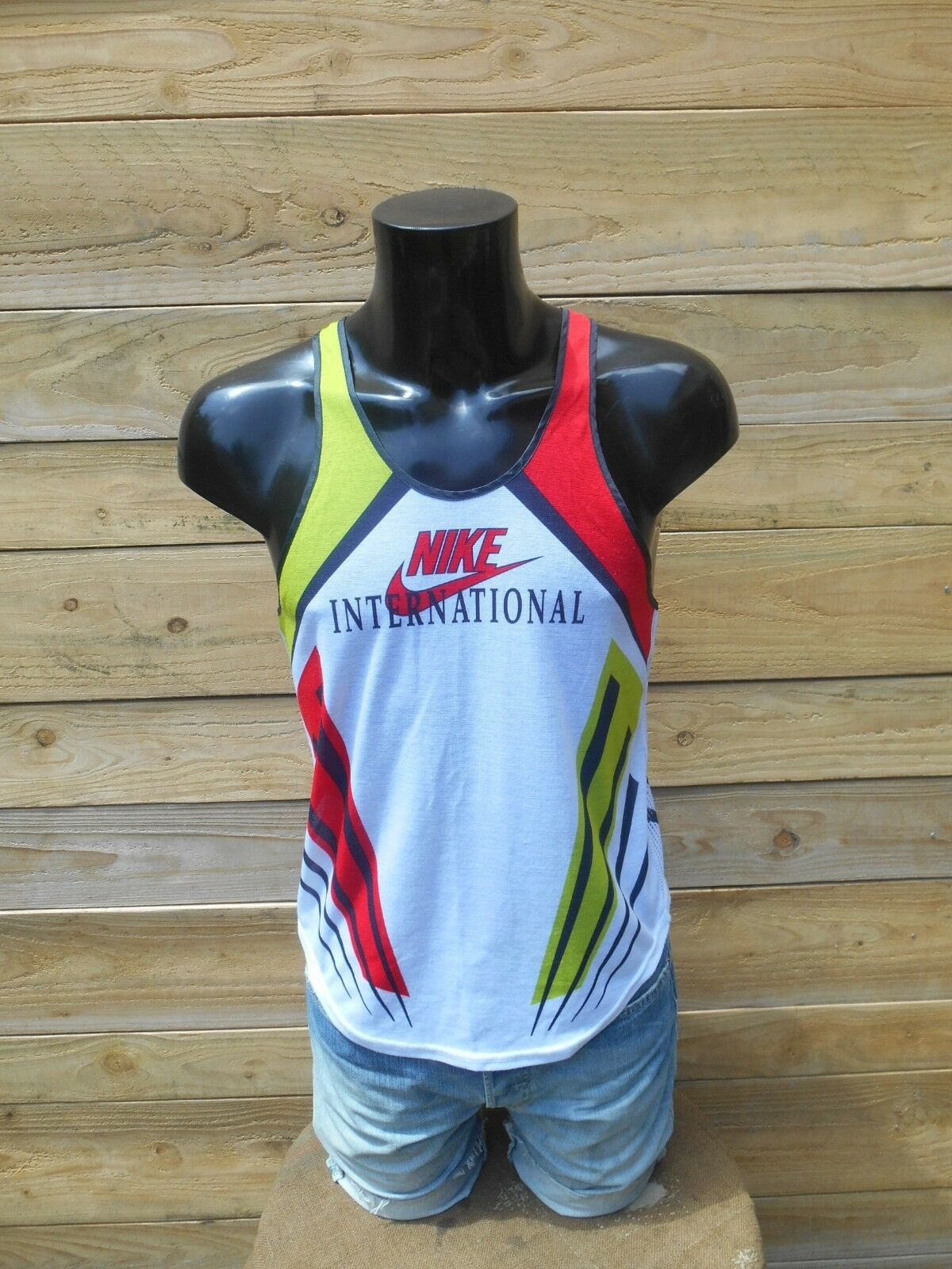 NIKE International Maillot Jersey Vintage 90s Made in UK Athletic Running Sprint
