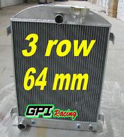 3 Row For 1932 32 Ford Hiboy Hi-boy Chopped Ford Engine Aluminum Radiator 32