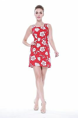 Elegant Fitted Aline Tropical Hawaiian Tank Party Cruise Luau Dress Red Hibiscus