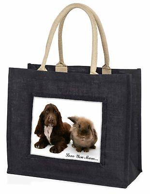 Cocker Spaniel Hund' Liebe, die sie Mama' große schwarze Einkaufstasche