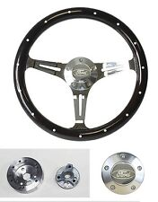 "Bronco F100 F150 F250 F350 Dark Wood Steering Wheel Ford Cap 14"" Classic Style"