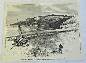 1885-Revista-Grabado-Le-Havre-amp-It-039-s-Environs-Bahia-de-Ste-Adresse-France