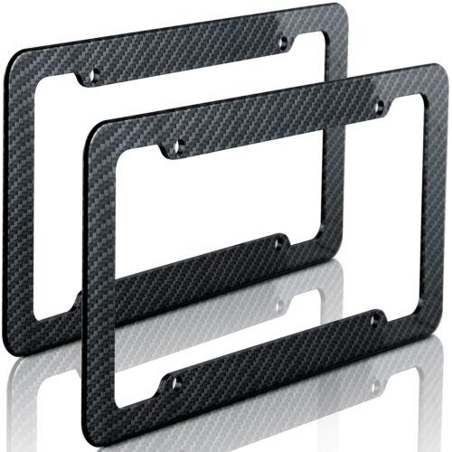 Plastic Carbon Fiber Style License Plate Frames For Front Rear Bracket 2pc Set