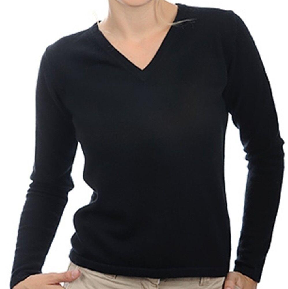 Balldiri 100% Cashmere Damen Pullover 2-fädig V-Ausschnitt schwarz S