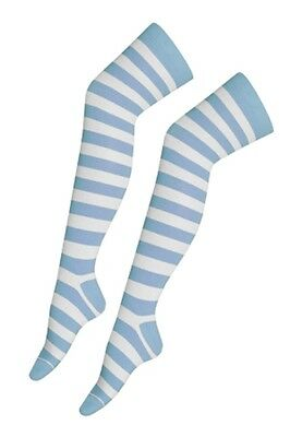 Over The Knee Baby Blue And White Stripy Stripey Socks Sox Thigh High Striped