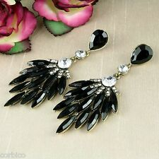 E7 Black Resin and Crystals Leaf Chandelier Statement Drop Dangle Stud Earrings