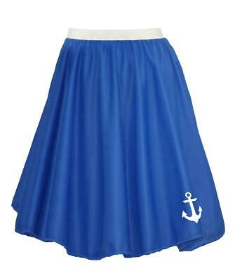 "22"" Donna Blu Royal Naval Stampato Anchor Sailor Costume Skater Gonna-mostra Il Titolo Originale Prezzo Di Strada"
