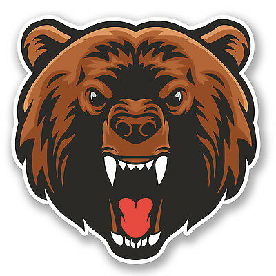 2 x Angry Brown Bear Vinyl Sticker Laptop Travel Luggage Car #5552
