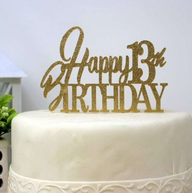 All About Details Happy 13th Birthday Cake Topper Gold