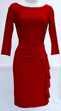 Ralph Lauren red cocktail special occasion red elegant dress sz 8P 3/4 sleeves