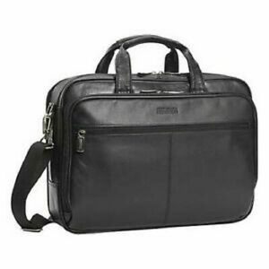 260-Kenneth-Cole-Reaction-Manhattan-Leather-Double-Gusset-Laptop-Briefcase-Bag
