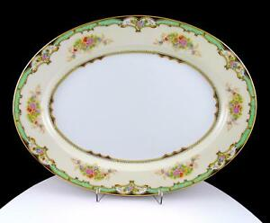 NORITAKE-FOR-FIELD-JAPAN-GREEN-amp-FLORAL-BOUQUETS-LARGE-OVAL-13-5-8-034-PLATTER