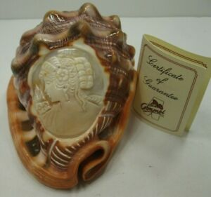 Carved-Cameo-Conch-Shell-Signed-Victorian-Lady-Flower-In-Her-Hair-with-COG