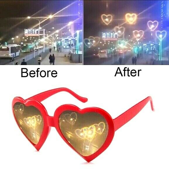 Heart Shaped Novelty Light Effects Sunglasses Red Concert Festival USA SHIPPING
