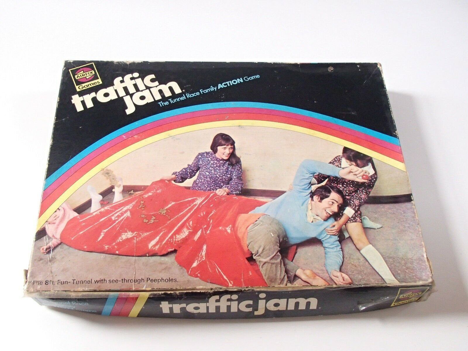Rare Vintage 1970 Airfix Games Traffic Jam 8ft Tunnel Race Family Action Game