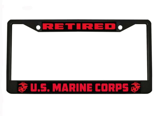 MARINE CORPS Metal Auto License Plate Frame Car Tag Holder RETIRED U.S