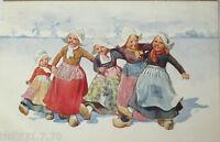 """""""Kinder, Holland, Trachten, Holzschuhe"""" 1911, sig. K. Feiertag ♥  (27537)"""