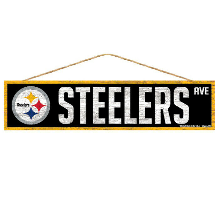 Pittsburgh Steelers Wooden Sign Door 16 7 8In, NFL Football, Fan Cave Wood