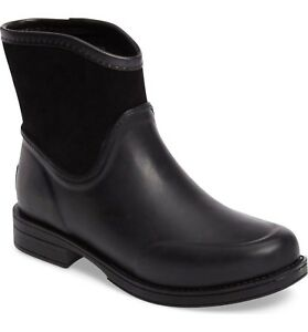 0cb4cd80349 UGG Boots UGGS Waterproof Rain Boots Black Rubber Suede Paxton ...