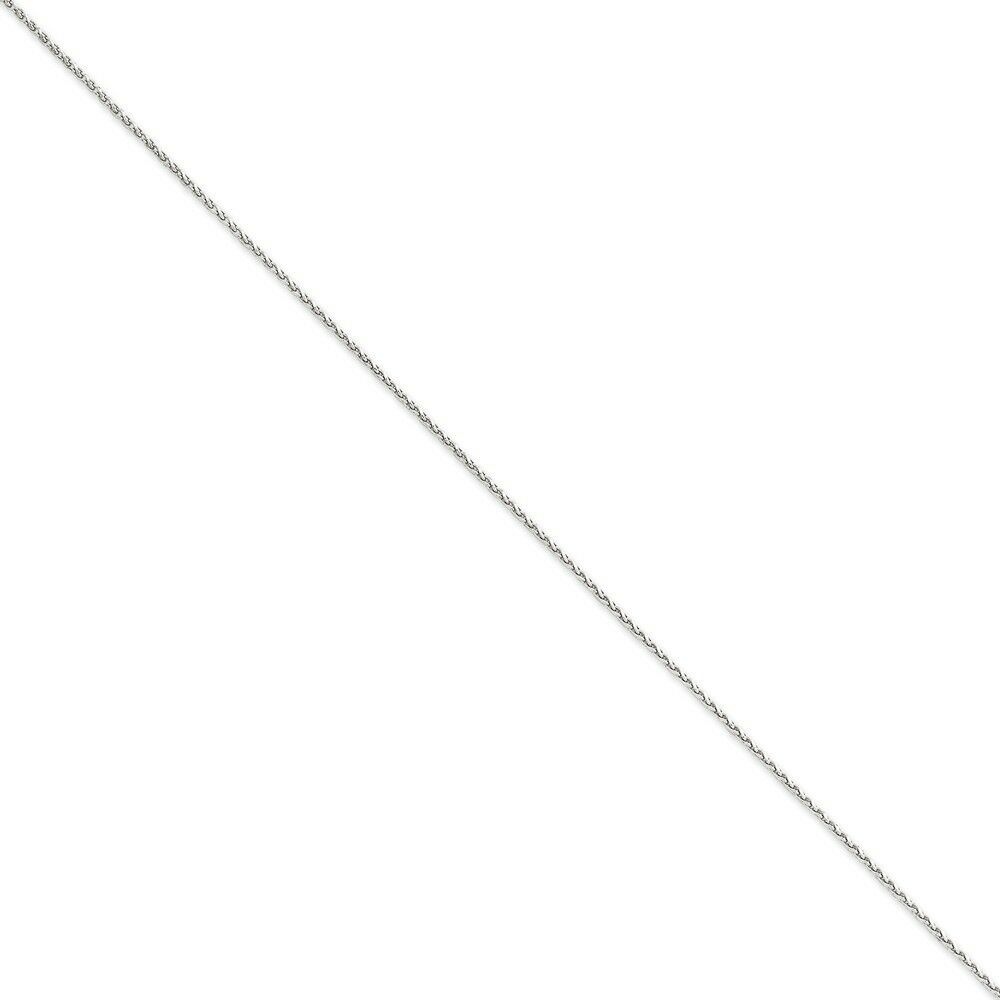 14k White gold 1.4mm Solid Diamond-Cut Spiga Chain Bracelet 7 Inch