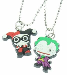 Dc comics the joker harley quinn kawaii necklace for Harley quinn and joker jewelry