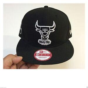 M L) New Era HWC Harwood Classic WINDY CITY Chicago Bulls Black ... 2db7516dead