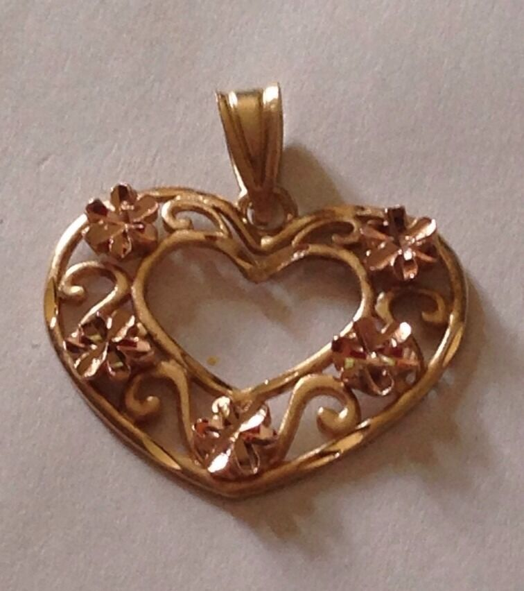 14K Yellow pink gold Open 3 4  Heart Pendant Charm, 1.2 Grams