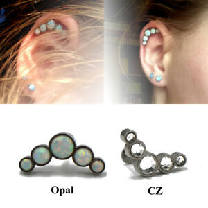Cartilage-Piercing-Surgical-Steel-Barbell-With-Opal-Stone-CZ-Ear-Helix-Earing