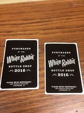 RARE JACK DANIELS SET OF 2 WHITE RABBIT BOTTLE SHOP STICKERS -NO GREEN GOLD FIRE