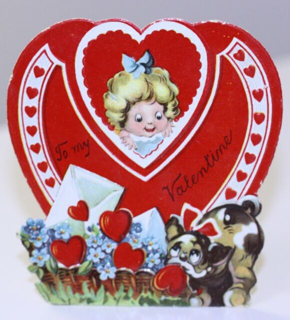 "Vintage Valentine Girl dog ""To My Valentine""  Stand Up Germany 3 6/16"" tall"