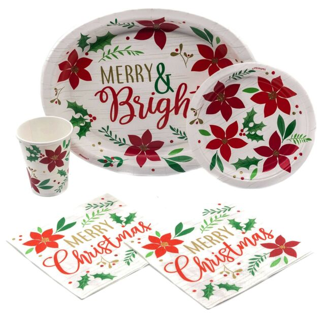Christmas Paper Plates And Napkins.Holiday Christmas Wishes Disposable Paper Plates Napkins And Cups Set For 15