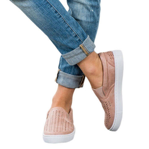 Womens Breathable Slip On Flats Trainer Sneakers Flat Loafers Casual Sport Shoes