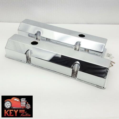Small block Chevy CHROME fabricated aluminum valve covers sheet metal SBC 350