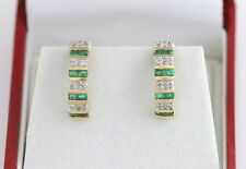 10K YG Gold Emerald & Diamond Earrings Huggie Pierced Half Hoop Channel Set Nice
