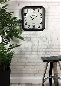 Black Studded Wall Clock French Vintage Industrial Distressed