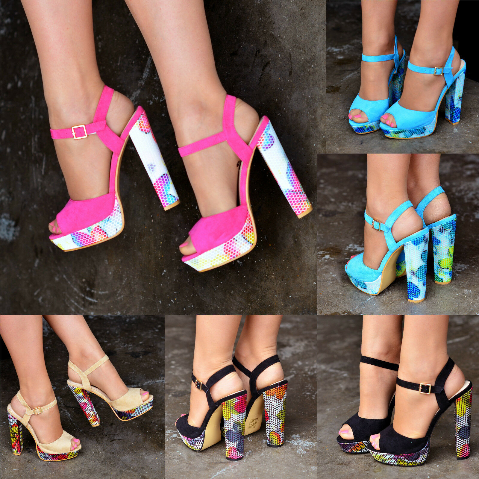 98327293d9f Ladies Block Heel Multi Ankle Strap Peep Toe shoes Pumps Size MY140 ...