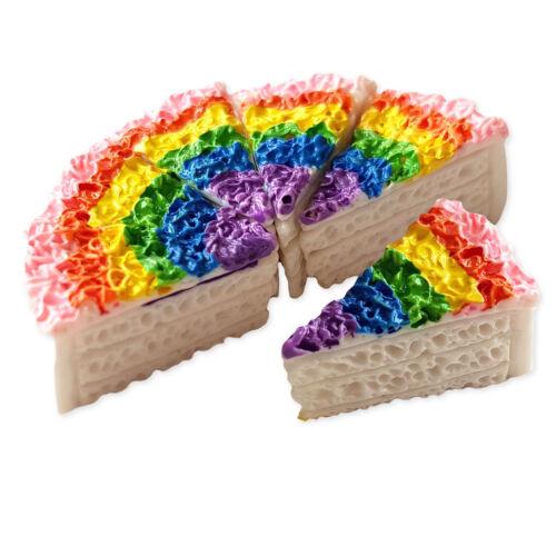 5pcs Rainbow Cake Slice Resin Kawaii Cabochons Embellishment Decoden Craft Doll