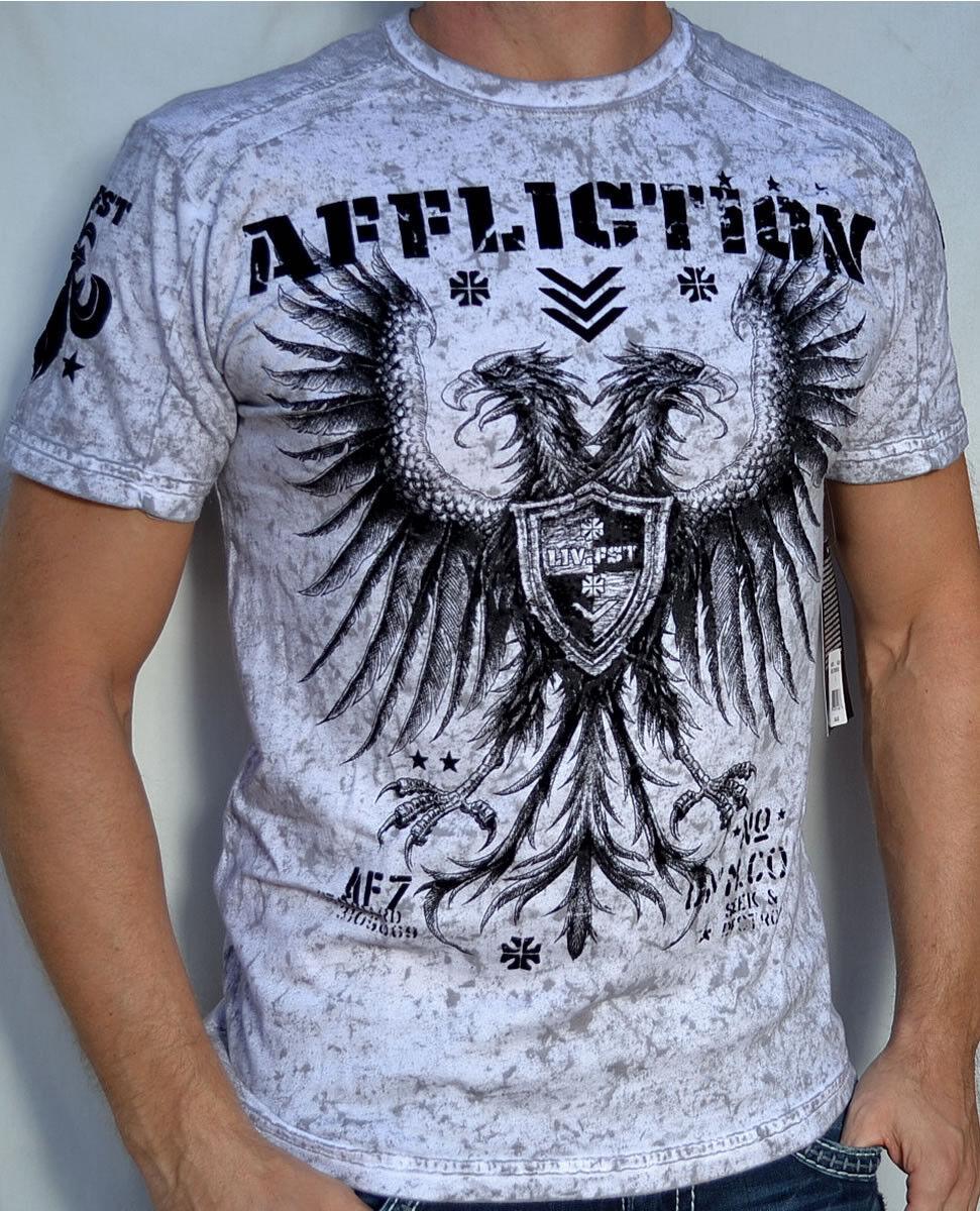 Affliction - ROYAL STRIKER - Men's Paneled Short Sleeve T-Shirt - A9130 - White